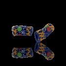 Krobo beads kralen Ghana 20mm blauw ovaal