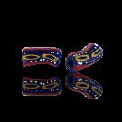 Krobo beads kralen Ghana 20mm blauw rood ovaal