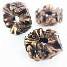 Kunststof kraal ring met bloemen 17mm rond koper