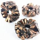 Kunststof kraal ring met bloemen 25mm rond koper