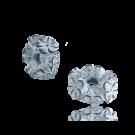 Kunststof kraal ring zwart wit met bloemen 10mm rond