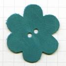 leerschijfjes 50mm turquoise bloem leer