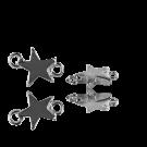 Metalen bedeltje tussenzetsel ster 16mm oudzilver