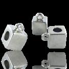 Metalen blokje zilver 10mm grootgat met oogje