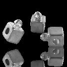 Metalen blokje zilver 6mm met oogje