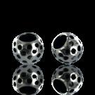 kralen 9mm oudzilver met spikkels rond