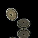 schijfjes 10mm oudgoud rond metaal gekarteld