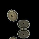 schijfjes 8mm oudgoud rond metaal gekarteld