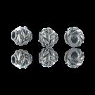 Mooie metalen ronde kralen 8mm met blaadjes en takjes oudzilver