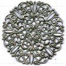 filigrain ornament 45mm oudzilver rond metaal
