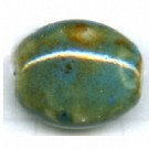 kralen 14mm turquoise blauw plat ovaal porselein