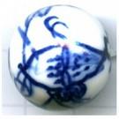 kralen 20mm blauw rond porselein