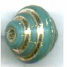 ribbelkralen 9mm turquoise konisch glas