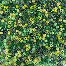 Rocailles borduurkralen glas 6/0 mix groen