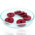 Schijfjes leer 20mm rood rond