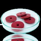 Schijfjes leer 24mm rood rond