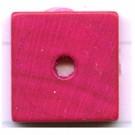 kralen 14mm roze schijf vierkant hout