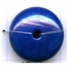kralen 20mm blauw rond schijf hout