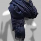 Sjaal dames heren zacht pashmina viscose zijde blauw