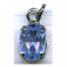 strasshangers 8mm blauw ovaal metaal