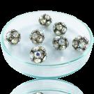 Strass kralen 10mm zilver met kristal ab rond