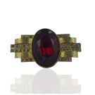 metalen stud met grote strass steen rood 49mm goud