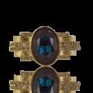 metalen stud met grote strass steen donkerblauw 49mm goud