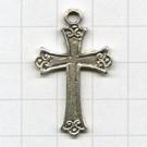 tinhangers 32mm oudzilver kruis tin