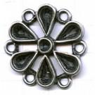 tussenzetsels 30mm oudzilver bloem tin