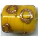 glaskralen 10mm geel cilinder
