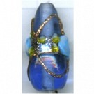 glaskralen 21mm blauw druppel