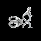 Verzilverde metalen carabinersluitingen 14mm