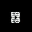 oorstekers 6mm verzilverd rechthoek metaal