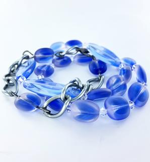 Vintage blauwe glaskralen met Swarovski