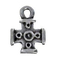 bedels 17mm oudzilver kruis metaal