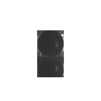 boutons 6mm zwart rond glas