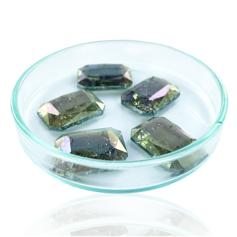Fancy stones glas 18mm groen ab coating transparant rechthoek