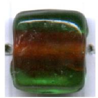 glaskralen 11mm groen blokje