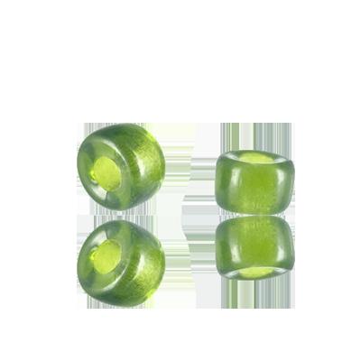 Glaskralen groot gat 6mm groen doorzichtig cilinder