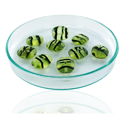 Glaskralen ovaal plat 14mm groen bruin transparant