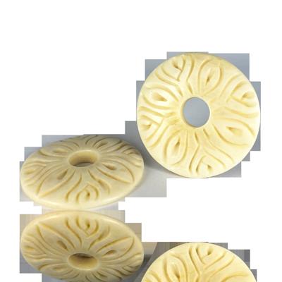Handgemaakte platte schijf 35mm naturel been rond
