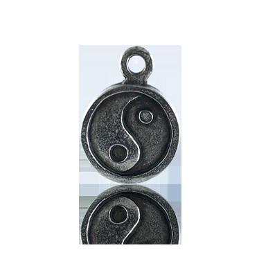 munten 19mm oudzilver Yin Yang metaal