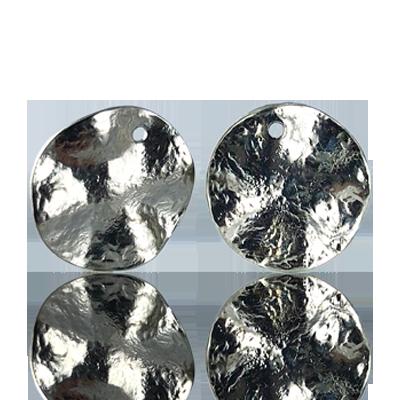 hangers muntje 14mm zilver rond metaal