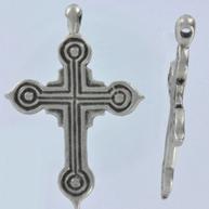 hangers 6mm oudzilver kruis metaal