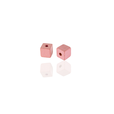 Houten kralen 3mm blokje zalm roze
