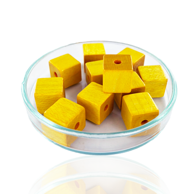 Houten kralen 10mm okergeel blokje