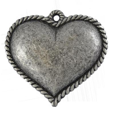 hangers 60mm oudzilver hartje