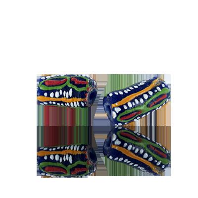 Krobo beads kralen Ghana 20mm blauw groen ovaal