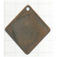 hanger plaatje 30mm brons vierkant metaal