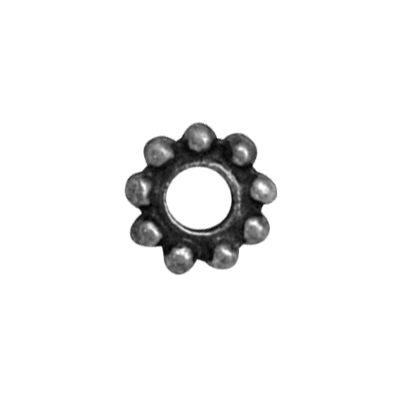 ring bolletjes 10mm oudzilver rond metaal